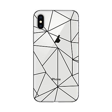 olcso Összes megtekintése-Case Kompatibilitás Apple iPhone X / iPhone 8 Plus / iPhone 8 Átlátszó / Minta Fekete tok Mértani formák Puha TPU