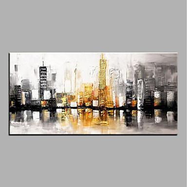 رخيصةأون جدارية-هانغ رسمت النفط الطلاء رسمت باليد - تجريدي الحديث بدون إطار داخلي / توالت قماش