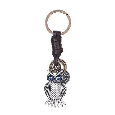 سلسلة المفاتيح بوم حيوانات عتيق خواتم مجوهرات فضي من أجل مناسب للبس اليومي