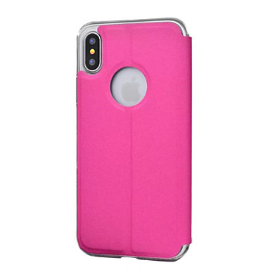 voordelige iPhone 5 hoesjes-hoesje Voor iPhone 5 / Apple / iPhone X iPhone X / iPhone 8 Plus / iPhone 8 met venster Volledig hoesje Effen Hard PU-nahka