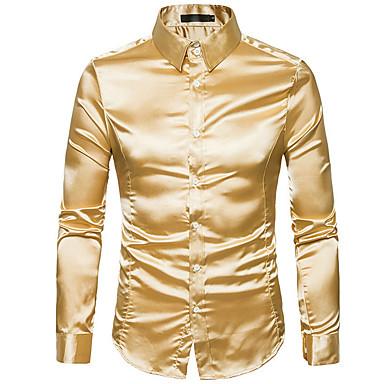 رخيصةأون قمصان رجالي-رجالي مناسب للحفلات أساسي قميص, لون سادة ياقة كلاسيكية نحيل / كم طويل