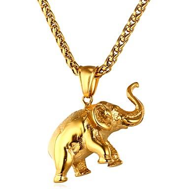 ieftine Colier la Modă-Bărbați Pentru femei Coliere cu Pandativ lanțul franco Elefant Animal Hip Hop Teak Auriu Argintiu Coliere Bijuterii 1 Pentru Zilnic Ceremonie