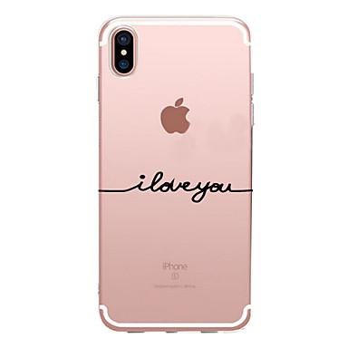 voordelige iPhone-hoesjes-hoesje Voor Apple iPhone X / iPhone 8 Plus / iPhone 8 Transparant / Patroon Achterkant Woord / tekst Zacht TPU