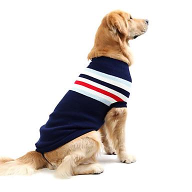 povoljno Odjeća za psa i dodaci-Pas Puloveri Zima Odjeća za psa Crvena Dark Blue Kostim Veliki pas Pamuk Prugasti uzorak Ležerno / za svaki dan S M L XL XXL XXXL
