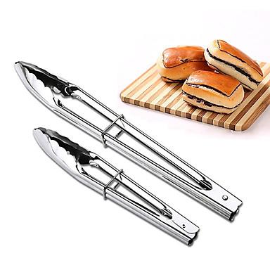 2pcs cleme bbq oțel inoxidabil gratar bufet clip pâine pensetă bucătărie
