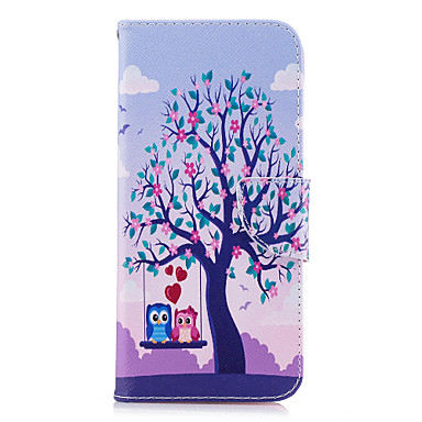 Недорогие Чехлы и кейсы для Galaxy S-Кейс для Назначение SSamsung Galaxy S9 / S9 Plus / S8 Plus Кошелек / Бумажник для карт / со стендом Чехол Сова / дерево Твердый Кожа PU
