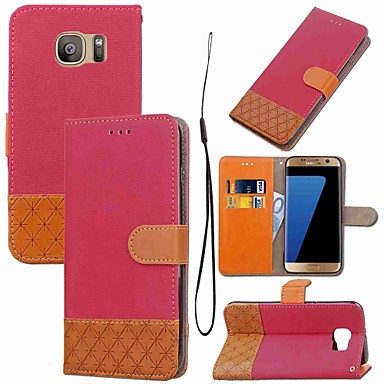 Недорогие Чехлы и кейсы для Galaxy S4 Mini-Кейс для Назначение SSamsung Galaxy S8 Plus / S8 / S7 edge Кошелек / Бумажник для карт / со стендом Чехол Геометрический рисунок Твердый текстильный