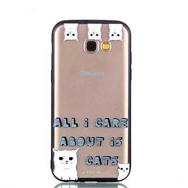 voordelige Galaxy A-serie hoesjes / covers-hoesje Voor Samsung Galaxy A5(2018) / Galaxy A7(2018) / A3 (2017) Transparant / Reliëfopdruk / Patroon Achterkant Kat / Woord / tekst Hard PC
