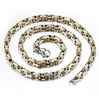 voordelige Heren Ketting-Heren Kettingen Tweekleurig Baht Chain Mariner Chain Rock Modieus Hip-hop Hip Hop Titanium Staal Verguld Titanium Goud Zilver Kettingen Sieraden Voor Dagelijks Straat