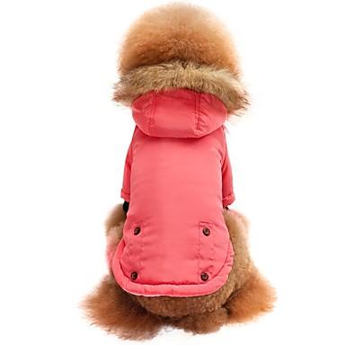 olcso Macska Ruházat-Cica Kutya Póló Kapucnis felsőrész Pulóver Tél Kutyaruházat Rózsaszín Jelmez Pamutszövet Nejlonszál Egyszínű Stílusos Melegen tartani XS S M L XL