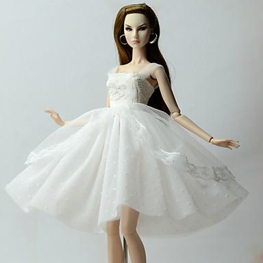 23121582ec Ruhák Ruha mert Barbiedoll Fehér Félszatén / Tüll / Csipke Ruha mert Lány  Doll Toy 6498163 2019 – €7.19