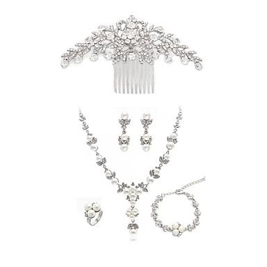 رخيصةأون أطقم المجوهرات-نسائي أمشاط للشعر اطقم ذهب و مجوهرات ملاحق الأحلام أوروبي موضة لؤلؤ تقليدي تقليد الماس الأقراط مجوهرات أبيض من أجل زفاف مناسب للحفلات