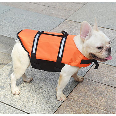 cat dog life vest dog clothes solid colored orange yellow terylene