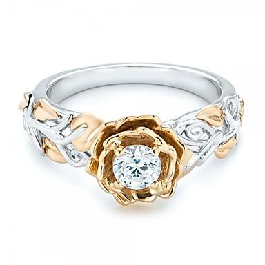 olcso Divat gyűrűk-Női Band Ring Gyémánt Kocka cirkónia High End Crystal 1db Arany Cirkonium Ezüst Circle Shape Geometric Shape hölgyek Vintage Alap Esküvő Eljegyzés Ékszerek Mértani Kéttónusú
