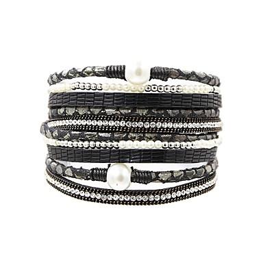 cheap Pearl Bracelets-Women's Wrap Bracelet Leather Bracelet Ladies Vintage Fashion Elegant Pearl Bracelet Jewelry Gray / Brown / Green For Daily Going out
