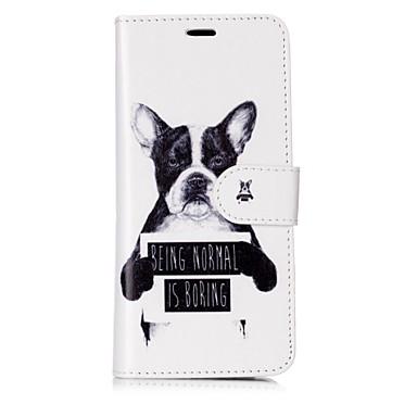 Недорогие Чехлы и кейсы для Galaxy S6 Edge-Кейс для Назначение SSamsung Galaxy S8 Plus / S8 / S7 edge Кошелек / Бумажник для карт / Флип Чехол С собакой / Слова / выражения Твердый Кожа PU