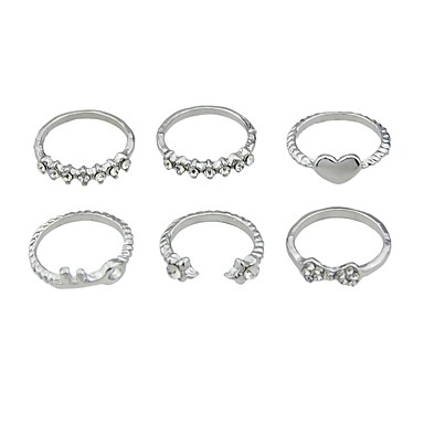 olcso Divat gyűrűk-Női Ujjperc gyűrű 6db Arany Ezüst Ötvözet Rock Divat Utca Alkalmi Ékszerek Szív Olcsó
