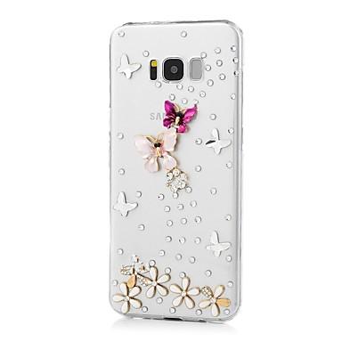 Недорогие Чехлы и кейсы для Galaxy S-Кейс для Назначение SSamsung Galaxy S8 Plus / S8 / S7 edge Стразы / С узором Кейс на заднюю панель Бабочка Твердый Акрил