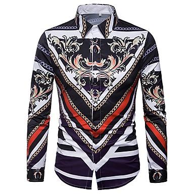 povoljno Muške košulje-Majica Muškarci - Vintage Dnevno Geometrijski oblici Široki ovratnik Slim, Print Crvena / Dugih rukava