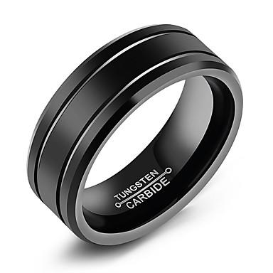 levne Široké prsteny-Pánské Band Ring Groove kroužky Černá Titanová ocel Volframová ocel Titan Circle Shape Módní počáteční šperky Denní Formální Šperky Klasika Klasický motiv
