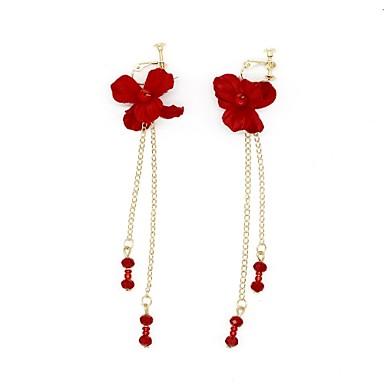 povoljno Naušnice-Žene Klipse Cvijet Djetelina Naušnice Jewelry Crvena Za Vjenčanje Prom