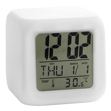 colorat stralucitor cubic digitale alarmă ceas calendar termometru 1pc (alb, 4xaaa)