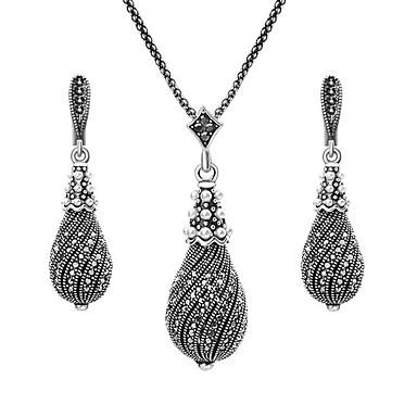 olcso Ezüstékszer szett-Női Kocka cirkónia Függők Nyaklánc medálok hölgyek Klasszikus Vintage Fülbevaló Ékszerek Ezüst Kompatibilitás Napi / Fülbevalók
