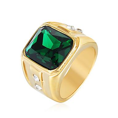 olcso Divat gyűrűk-Férfi Nyilatkozat gyűrű Pecsétgyűrű Kocka cirkónia Piros Zöld Kék Rozsdamentes acél Cirkonium Divat Esküvő Parti Ékszerek Szoliter Emerald Cut