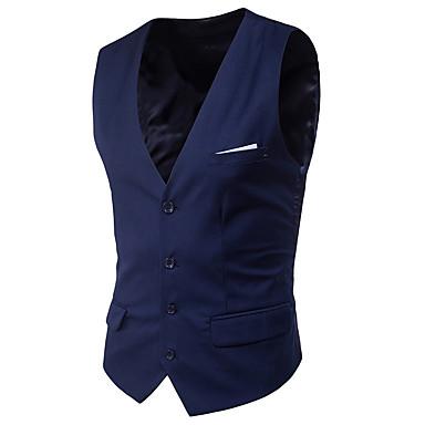 رخيصةأون سترات و بدلات الرجال-رجالي أزرق فاتح رمادي فاتح أزرق البحرية XXXXL 5XL 6XL Vest لون سادة ستايل كلاسيكي V رقبة / بدون كم / الربيع