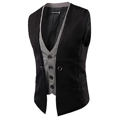 رخيصةأون سترات و بدلات الرجال-جمل أزرق البحرية رمادي L XL XXL Vest كاجوال ألوان متناوبة V رقبة / بدون كم / الربيع
