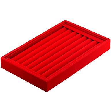 olcso Ékszer csomagolás és kiállítás-Ékszerdobozok mandzsettagomb Box Négyzet Vászon Fekete Fehér Piros Sötétszürke Ruhaanyag Anyag