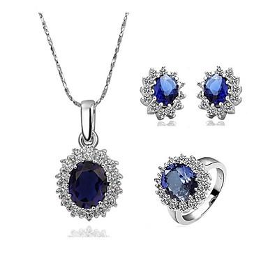 رخيصةأون أطقم المجوهرات-نسائي أزرق ياقوتي مكعب زركونيا الماس الصغيرة مجموعة مجوهرات سوليتير البيضاوي قطرة عبارة سيدات أنيق زركون مطلية بالذهب الأقراط مجوهرات أزرق من أجل