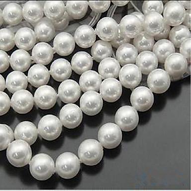 olcso Gyöngyök-DIY ékszerek 46 db Perlice Gyöngyutánzat Fehér Kör üveggyöngy 0.8 cm DIY Nyakláncok Karkötők