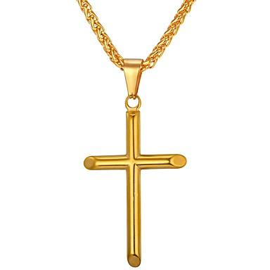 رخيصةأون القلائد-رجالي قلائد الحلي صليب الفولاذ المقاوم للصدأ معدن ذهبي فضي قلادة مجوهرات 1 من أجل هدية مناسب للبس اليومي