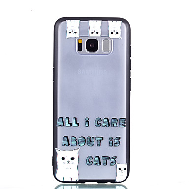 voordelige Galaxy S-serie hoesjes / covers-hoesje Voor Samsung Galaxy S8 Plus / S8 Transparant / Reliëfopdruk / Patroon Achterkant Kat / Woord / tekst Hard PC