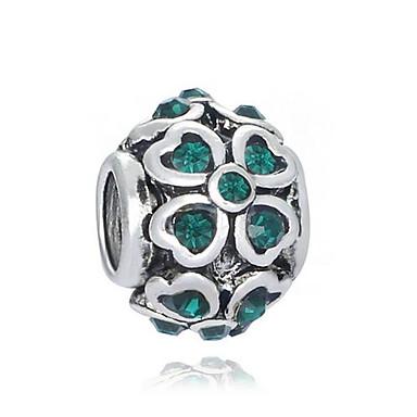 olcso Gyöngyök-DIY ékszerek 1 db Perlice Hamis gyémánt Ötvözet Fehér Zöld Kör üveggyöngy 0.2 cm DIY Nyakláncok Karkötők