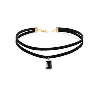 ieftine Colier la Modă-Pentru femei Sapphire sintetic Coliere Choker Guler Nit femei Clasic Modă Piatră Preţioasă Piele Aliaj Negru Coliere Bijuterii 1 Pentru Zilnic