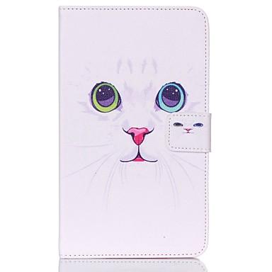 voordelige Samsung Tab-serie hoesjes / covers-hoesje Voor Samsung Tab 4 7.0 Portemonnee / Kaarthouder / met standaard Volledig hoesje Kat Hard PU-nahka