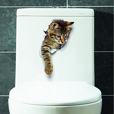 حيوانات ملصقات الحائط لواصق لواصق المرحاض, الفينيل تصميم ديكور المنزل جدار مائي مرحاض