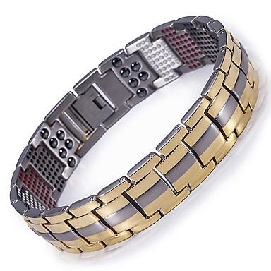 preiswerte Edler Schmuck-Herrn Ketten- & Glieder-Armbänder Hologramarmband zweifarbig Titanstahl Armband Schmuck Gold / Schwarz / Silber Für Normal Alltag