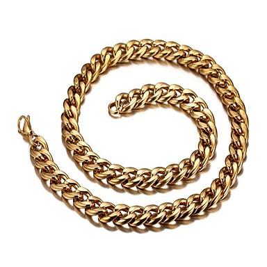 Недорогие Ожерелья-Муж. Ожерелья-цепочки Скрученный Сеть моряков Мода Дубай Нержавеющая сталь Титановая сталь Золото 18K Золотой Ожерелье Бижутерия 1 Назначение Подарок Повседневные