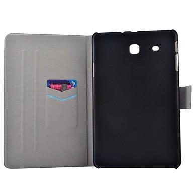 voordelige Samsung Tab-serie hoesjes / covers-hoesje Voor Samsung Galaxy Tab E 9.6 Kaarthouder / met standaard / Flip Volledig hoesje Woord / tekst Hard PU-nahka
