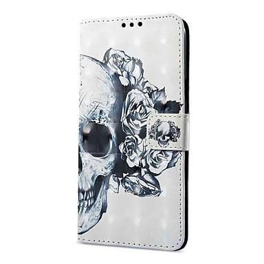 Недорогие Чехлы и кейсы для Galaxy S-Кейс для Назначение SSamsung Galaxy S9 / S9 Plus Кошелек / Бумажник для карт / со стендом Чехол Черепа Твердый Кожа PU