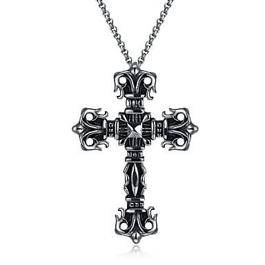 Недорогие Ожерелья-Муж. Ожерелья с подвесками Крест Классика Нержавеющая сталь Титановая сталь Металл Серебряный Ожерелье Бижутерия 1 Назначение Для улицы Новый год