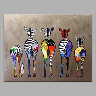 tanie Wall Art-ręcznie malowane na płótnie obraz olejny zwierząt kolorowy zebra sztuka nowoczesna bez ramki