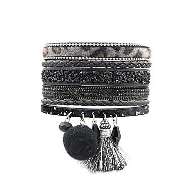 ieftine Brățări-Pentru femei Bratari Wrap Franjuri Boem Modă Boho Piele  Bijuterii brățară Negru / Maro / Roșu Închis Pentru Zilnic Ieșire