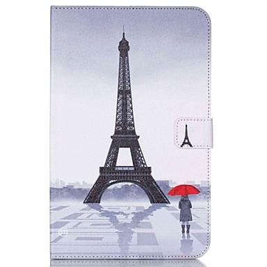 voordelige Samsung Tab-serie hoesjes / covers-hoesje Voor Samsung Tab E 9.6 Portemonnee / Kaarthouder / met standaard Volledig hoesje Eiffeltoren Hard PU-nahka