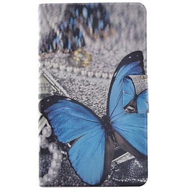 voordelige Samsung Tab-serie hoesjes / covers-hoesje Voor Samsung Galaxy Tab 4 7.0 Kaarthouder / met standaard / Flip Volledig hoesje Vlinder Hard PU-nahka