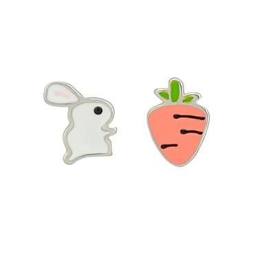 رخيصةأون أقراط-نسائي أقراط الزر غير متطابقة Rabbit جزرة سيدات الأقراط مجوهرات أبيض من أجل مناسب للبس اليومي مواعدة