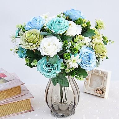 زهور اصطناعية 1 فرع النمط الرعوي الورود أزهار الحائط